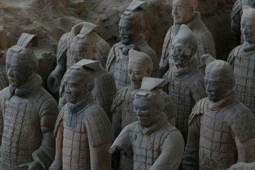 Het Terra-Cotta leger dat het graf bewaakt