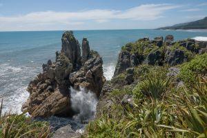 Pancake Rocks opspuitende zee