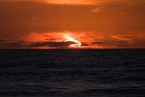 Ondergaande zon Greymouth