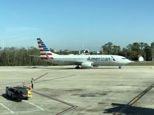 Het vliegtuig van American Airlines dat ons naar Los Angeles bracht