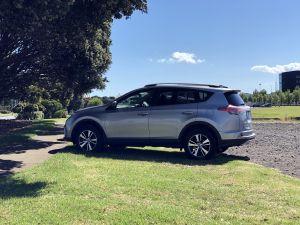 Onze huurauto in Nieuw Zeeland, een Toyota RAV4 AWD