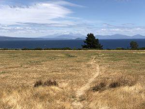 Uitzicht over Lake Taupo met bergen aan de andere kant