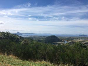 Uitzicht over Lake Taupo van de berg