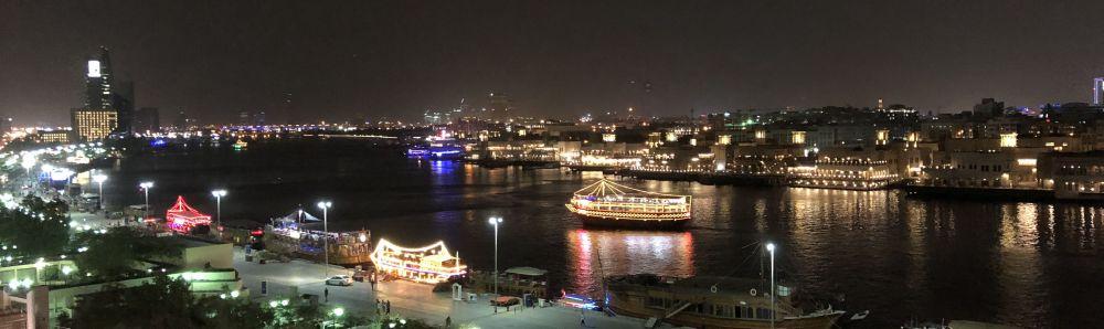 Uitzicht vanuit hotel op Dubai Creek